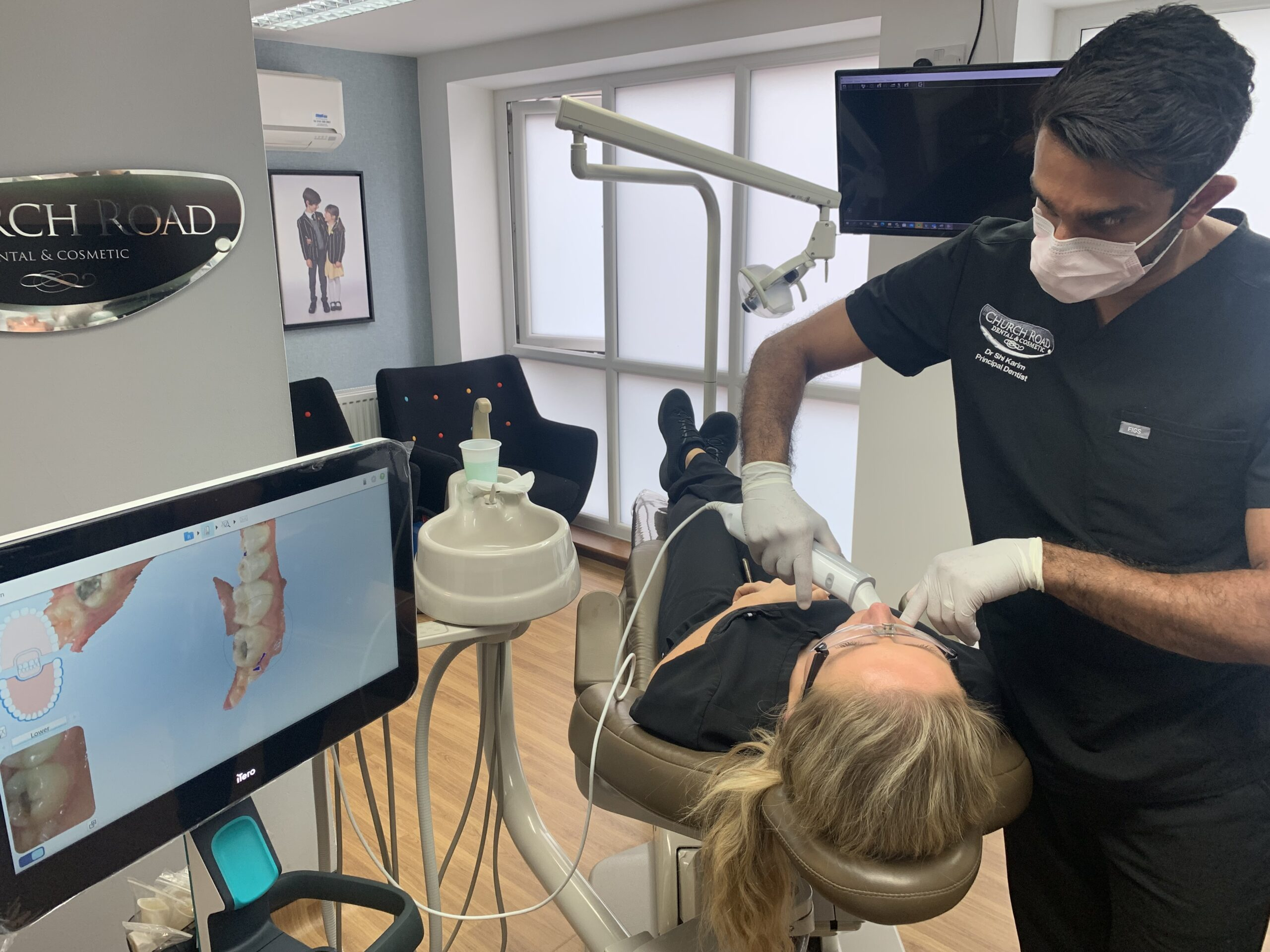 to show the iTero invisalign scanner being used